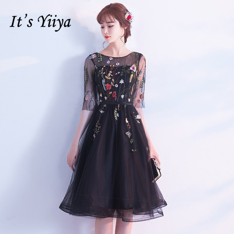 It's YiiYa 2018 Little Black Half Sleeve O-Neck Flower Pattern Embeoidery Lace Cocktail Gowns Knee Length Cocktail Dress LX313