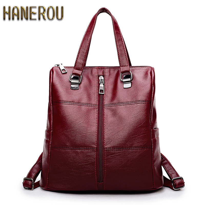 Famous Brand Backpack Women Backpacks Solid Fashion School Bags For Girls PU Leather Backpack Mochilas Mujer 2018 New Sac A Dos dida bear brand women pu leather backpacks female school bags for girls teenagers small backpack rucksack mochilas sac a dos