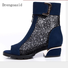 2019 New Breathable Cool Boots Summer Fashion Sandals Mesh Cow Leather Thick Heel With Rhinestone Fish Mouth Womens