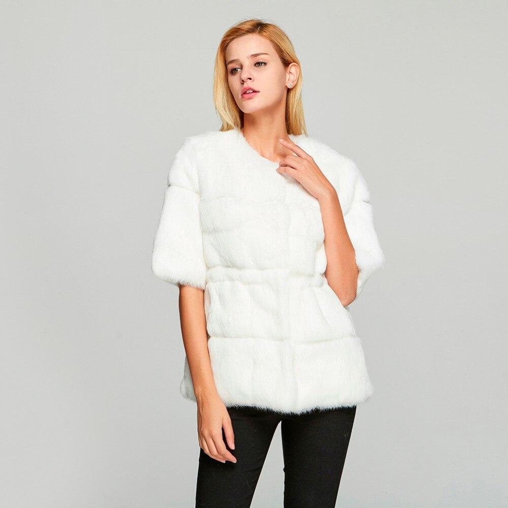 ขนสัตว์ Story 18110 ผู้หญิงจริงกระต่ายเสื้อขนสัตว์ฤดูหนาวแฟชั่นอบอุ่นเสื้อลำลอง O   Neck ครึ่งแขน-ใน ขนสัตว์จริง จาก เสื้อผ้าสตรี บน   2