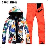 GSOU SNOW Men Ski Suits Jacket+Pants Water proof breathable Thermal Snowboard Printed Graffiti Ski Suit