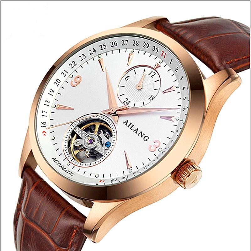 Mens watches top brand luxury Casual Business Wrist watch gift Mens Calendar Leather Tourbillon Automatic Mechanical Watch все цены