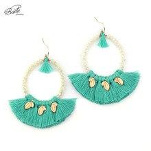 Badu Vintage Long Green Tassel Earring Women Crystal Beads Dangle Earrings Exaggerate Jewelry Mother Day Gift 2017 New Arrival