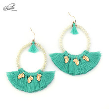 Badu Women Vintage Earring Long Green Tassel Pendant Dangle Earrings Crystal Beads Exaggerate Jewelry Mother Day Gift Trendy
