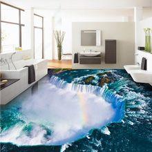 Livraison gratuite bleu océan chutes salon salle de bains 3D plancher auto-adhésif antidérapant chambre étude cuisine plancher papier peint mur