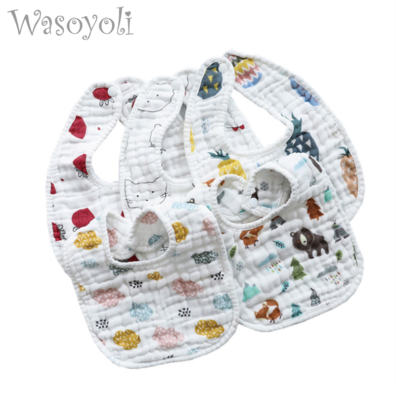 1 Piece Wasoyoli U Type Bib 8 Layers Burp Cloths 21*30CM Printed Colorful 100% Muslin Seersckuer Cotton Infant Bib