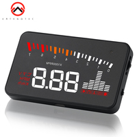 X5 Car HUD Head Up Display 3 inch Vehicle OBD2 Car Speedometer Windshield Projector Driving Speed Alarm Voltage MPH KM/H Display