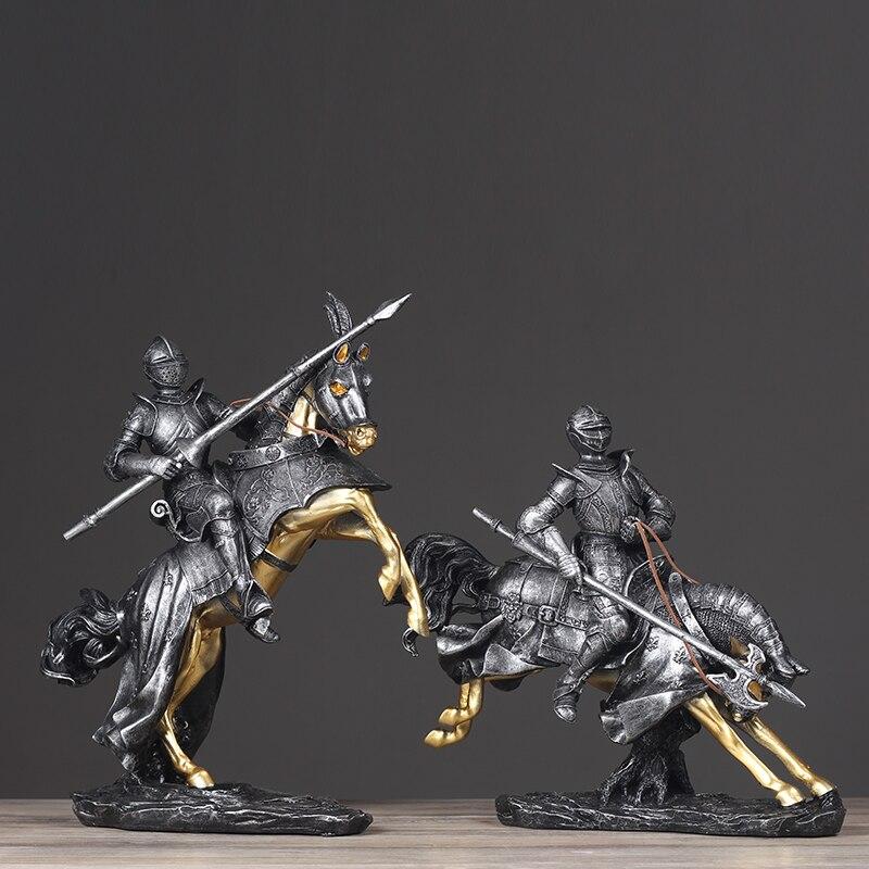 Médiévale résine armure chevalier Statue rétro Sculpture résine Statuette décor à la maison Art cadeau Figurines décoration de la maison accessoires