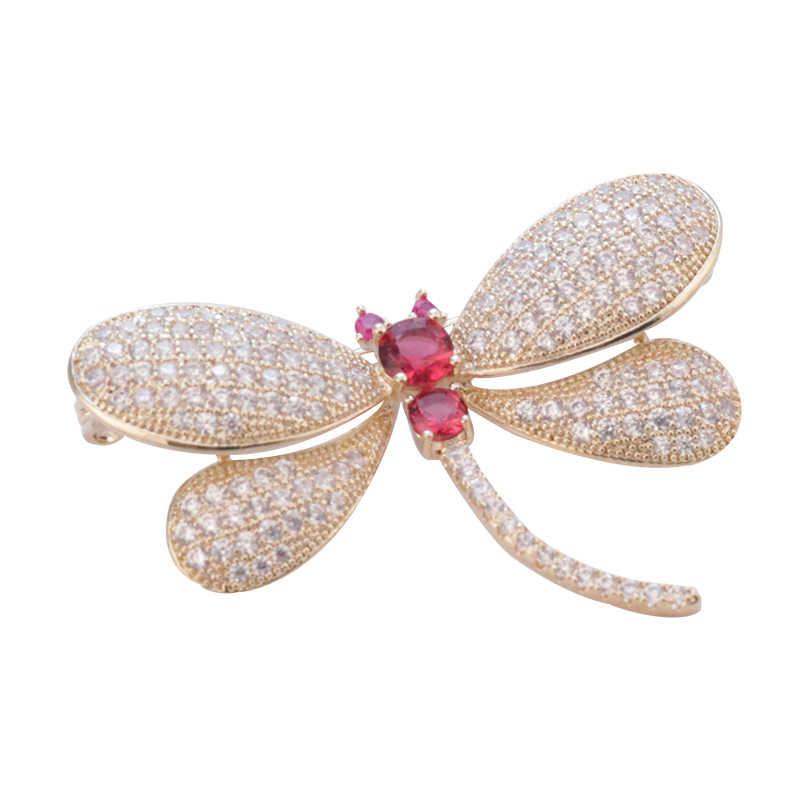 ファッションクリスタルシルバートンボのブローチブローチピン衣装スーツスカーフ装飾新しい昆虫動物ジュエリー