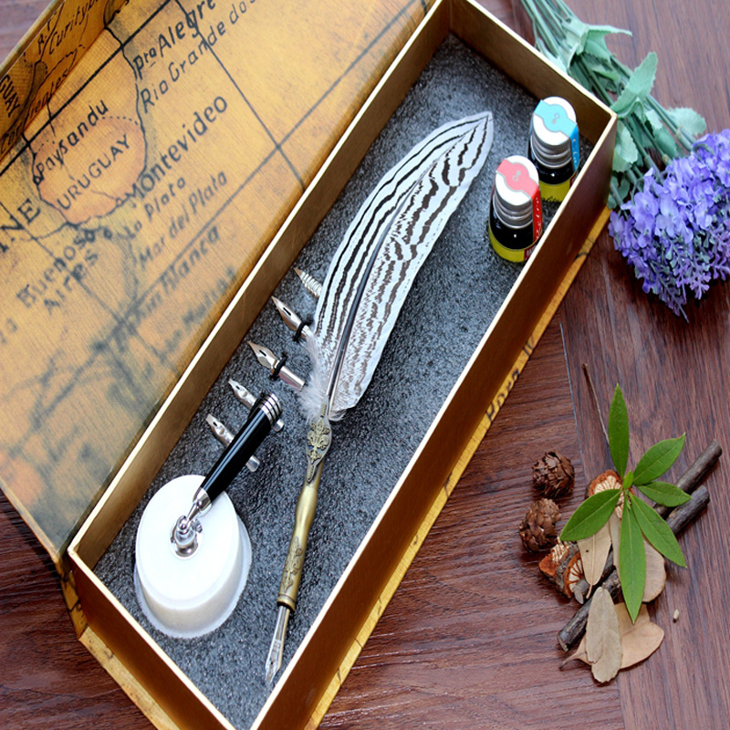 Europe Natural Feather Antique Dip Pen Set Signing Pen цена и фото