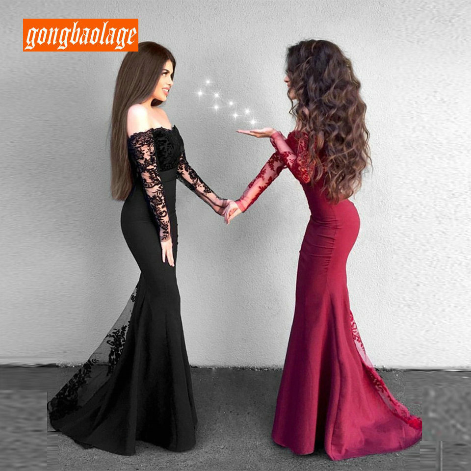 Fashion Black Mermaid Long   Evening     Dress   2019 Sexy party Gown   Evening   Boat Neck Elastic Satin Lace Zipper Formal Prom   Dresses