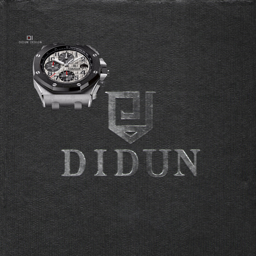 DIDUN watch Mens Top Luxury Brand Quartz Sliver Watch Men Military Chronograph Sports Watch Waterproof Wristwatch minglilai blakc sliver 37