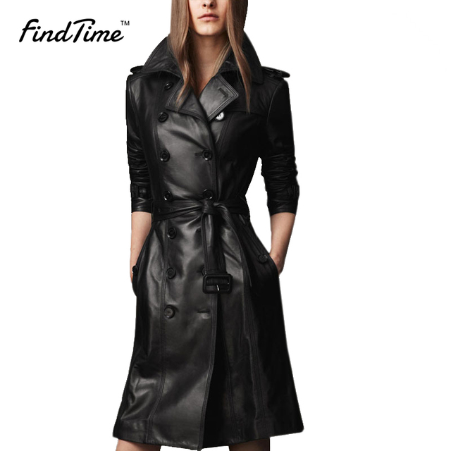2016 Autumn And Winter Long Sleeved Black Leather Jacket Women S