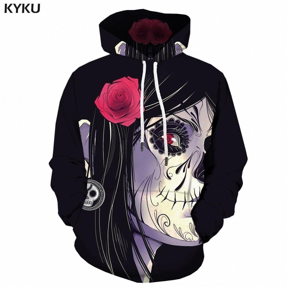 KYKU Skull Hoodies Men Sweatshirt 3d Print Hoodie Anime Cosplay Horror Flower Mens Clothing Long