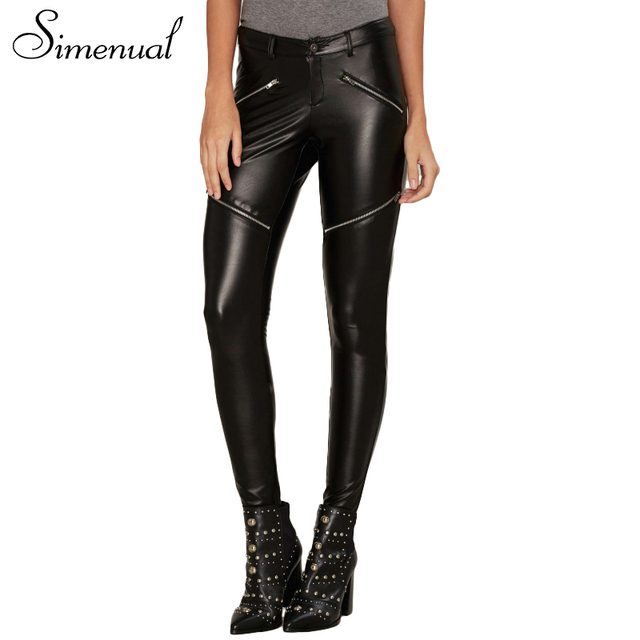 Simenual Zipper punk rock PU leather pants women leggings fitness slim black fashion women's trouser long legging female clothes