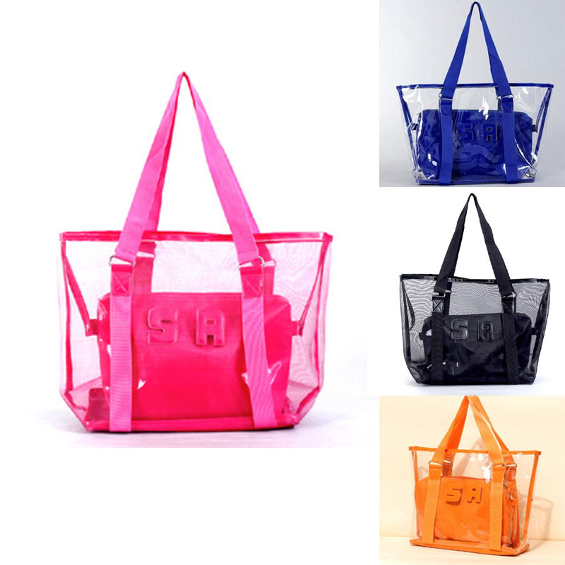 Mode sac Transparent cristal gelée sac à main ensemble femmes fourre-tout maille été sac de plage grand sac à main Shopping voyage fourre-tout noir