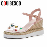 COVIBESCO Classic Round Toe Design Women Sandals 2019 Summer New Fashion Sweet Platforms Party Office Shoes Woman High Heels