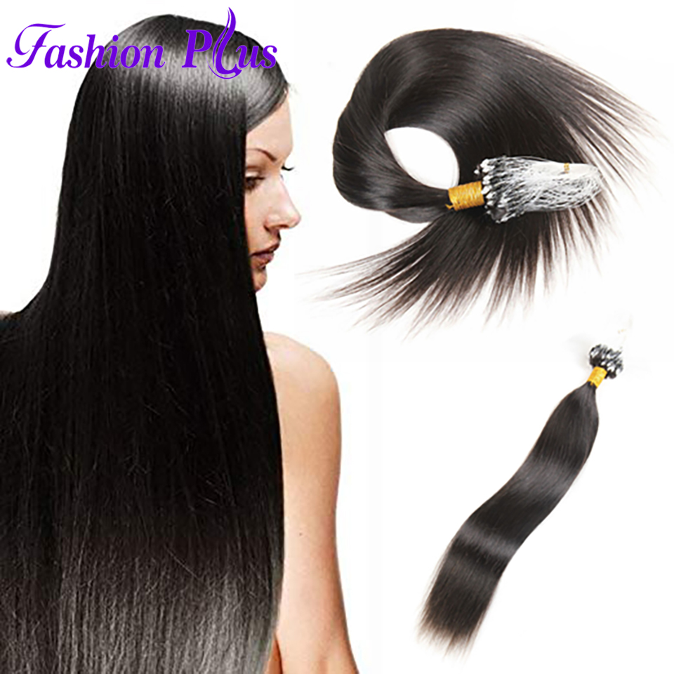 Fashion Plus Micro Loop Ring Hair Extensions 1g/strand 100g Micro Bead Link Human Hair Extensions Colored Hair Locks 18''-24''