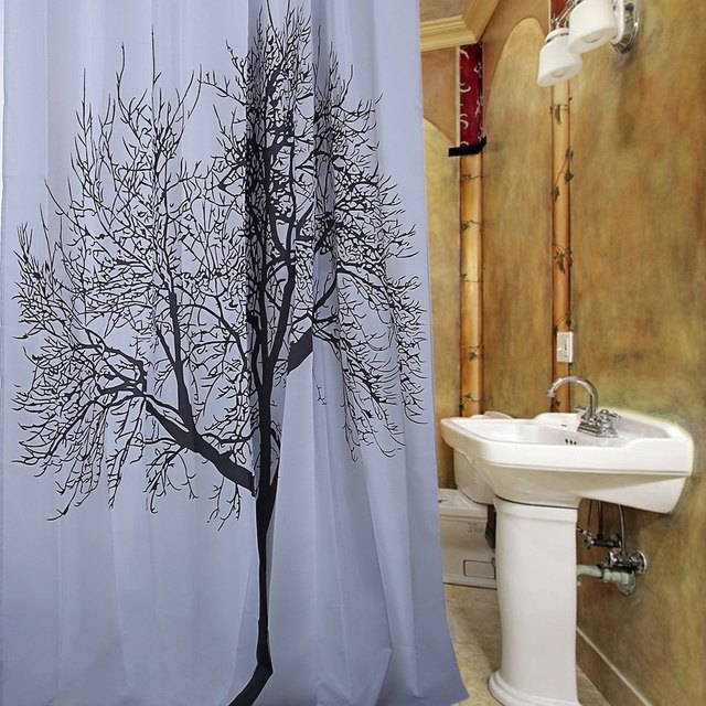 Morden Nature Scene Shower Curtain Black Tree Design Pattern Waterproof Polyester Bath With 12 Plastic