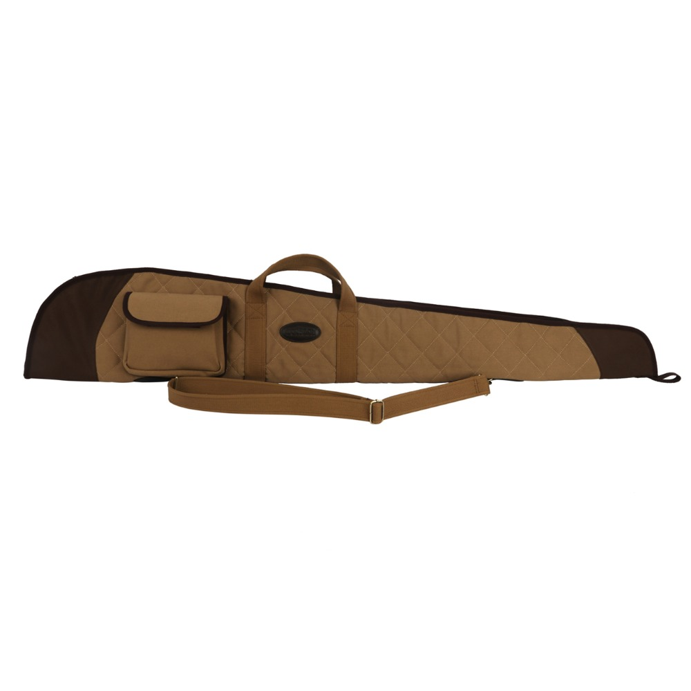 Tourbon Tactical Hunting Shotgun Case Slip Bag Canvas Leather Gun Protection Fleece Padded Carrier 130CM Gun