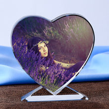 1Pc Magical Custom Crystal Photo Frame Heart Shape Colorful Glass Photo Album Wedding Kids Birthday Gift Home Decoration(China)