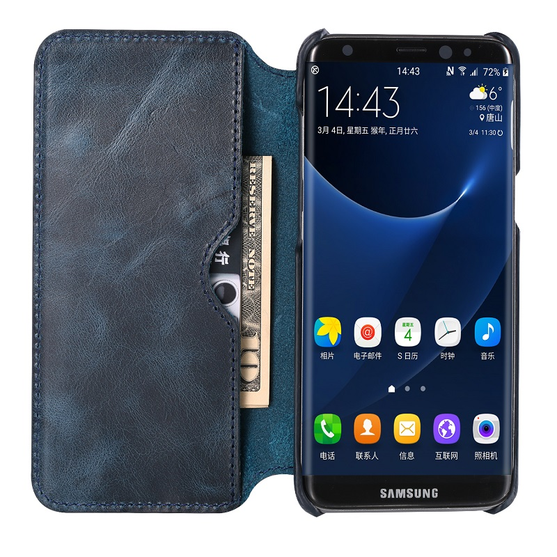 blue real leather case for samsung galaxy s8 S 8 genuine leather cover