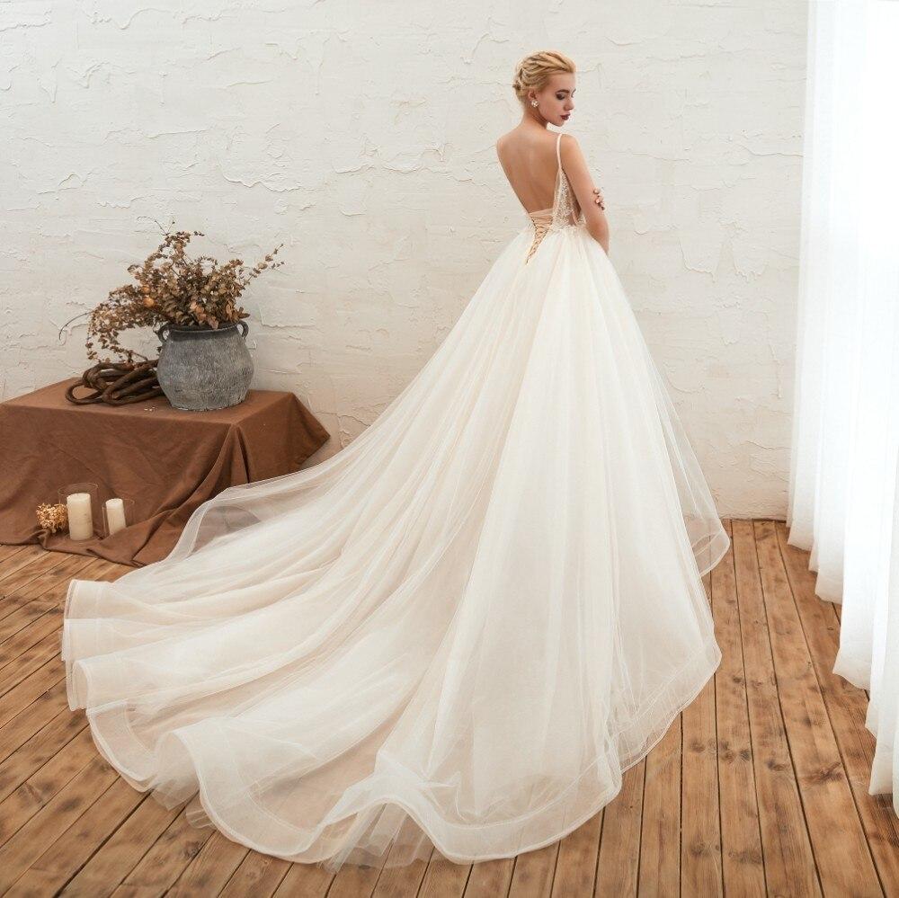 Été de mariée Vivian Boho fée dentelle perles Appliques robe de mariée Sexy bretelles Spaghetti dos nu chapelle Train robe de mariée - 2