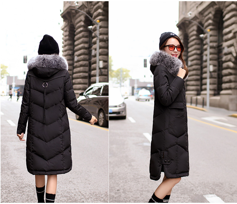 2017  winter new hooded thick down jacket for womens fur collar   warm plus size coat
