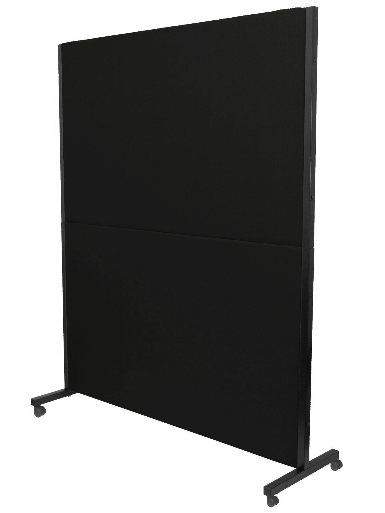 Séparateur d'écran pliable avec roues avec frein, pour bureaux et centres de travail, détachable et avec structure de couleur noire-