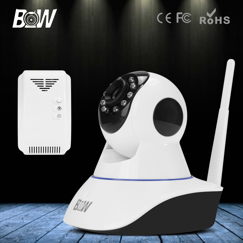 Wireless IP Camera Wi-Fi Onvif P2P Night Vision PTZ Surveillance Home Security Camera WiFi + Gas Detector Alarm Device