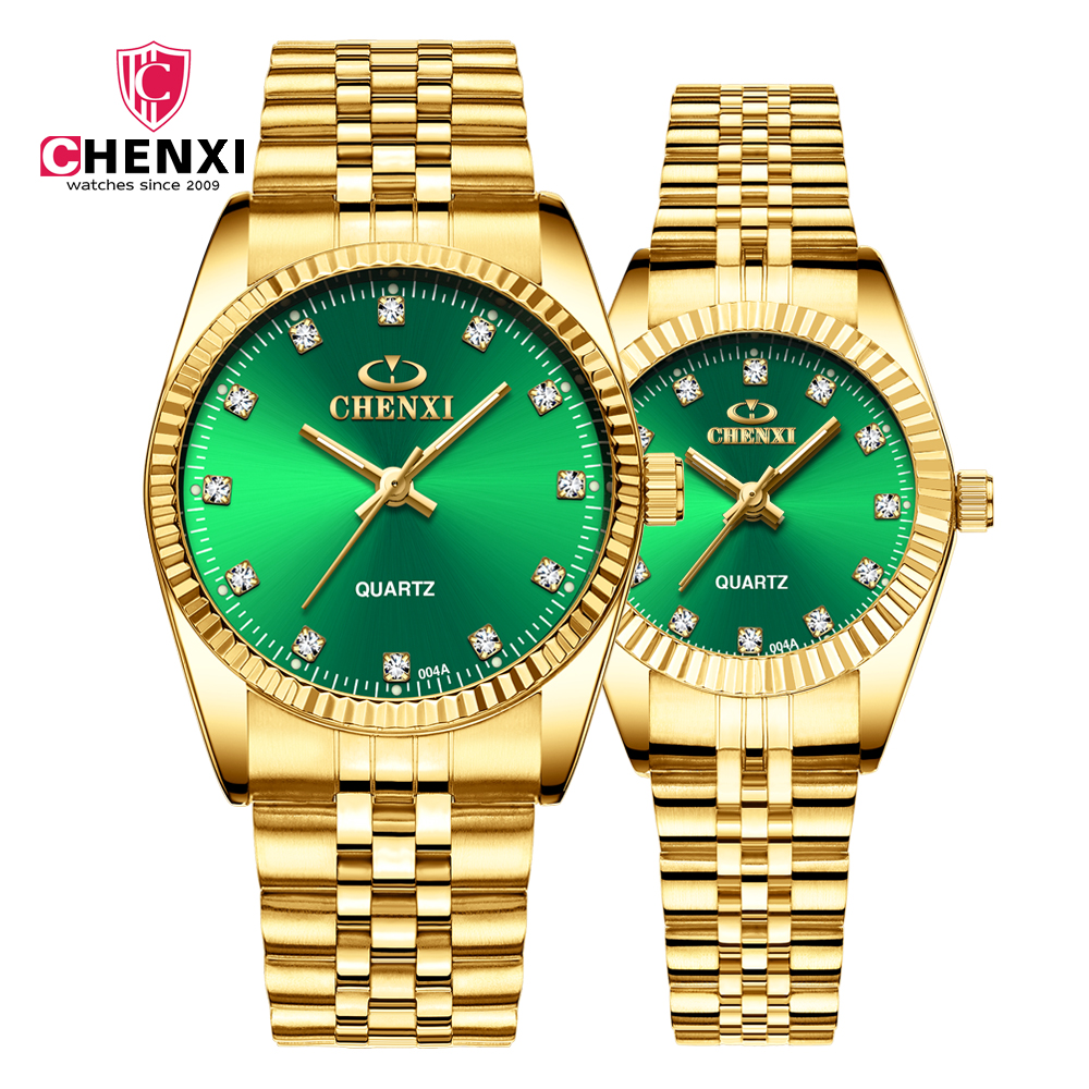 CHENXI Classic Women Watches Men Quartz Wristwatch New Green Dial Stainless Steel Watch Waterproof Couple Clock relogio femininoCHENXI Classic Women Watches Men Quartz Wristwatch New Green Dial Stainless Steel Watch Waterproof Couple Clock relogio feminino