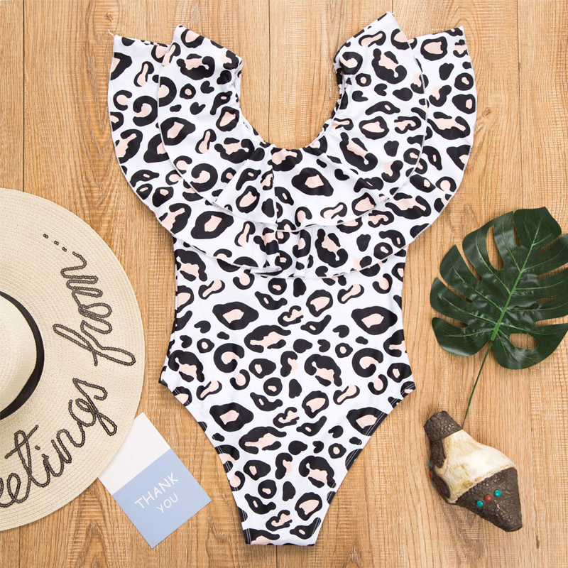 Mommy And Me Swimsuit Mom And Daughter Swimwear 2019 Ruffle Leopard Family Look Mother Daughter Bikini Family Matching Clothes in Matching Family Outfits from Mother Kids