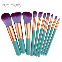 цены 10Pcs Professional Makeup Brushes Set Powder Foundation Eye Shadow Beauty Face Blusher Cosmetic Brush Blending Tools
