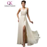 Halter Grace Karin Luxe Elegante Avondjurk Open Back Beige Sequin Kralen Lange Formele Gown Chiffon Split Avondjurk 2018