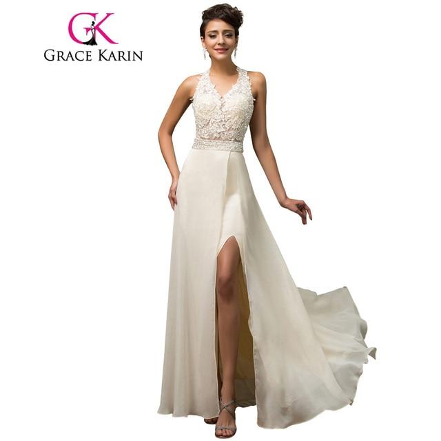 Halter Graça Karin Luxo Elegante Vestido de Noite Aberto Para Trás De Lantejoulas Bege Beading Longo Formal Vestido Chiffon Dividir Vestido de Noite 2018