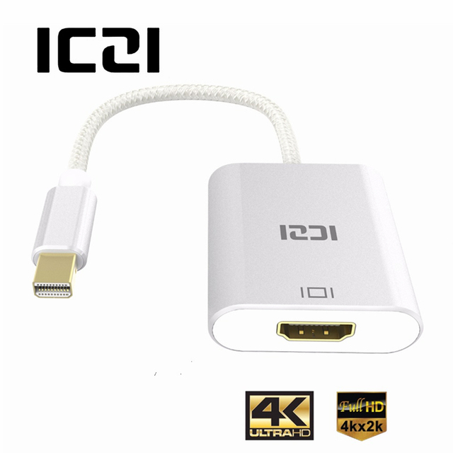 Cheap ICZI Mini DP to HDMI Adapter 4K Thunderbolt Mini Displayport 1.2 to HDMI 2.0 Converter for Macbook Surfacebook Silver