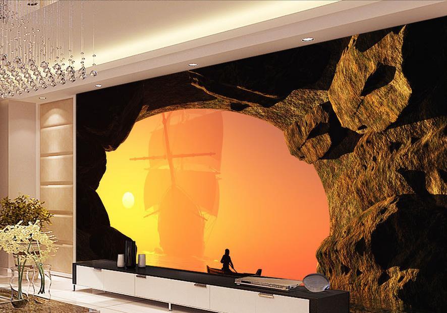 papel pintado para paredes d foto wallpaper mar amanecer velero barco de entrada de la cueva d murales de la pared de papel fotogrfico en