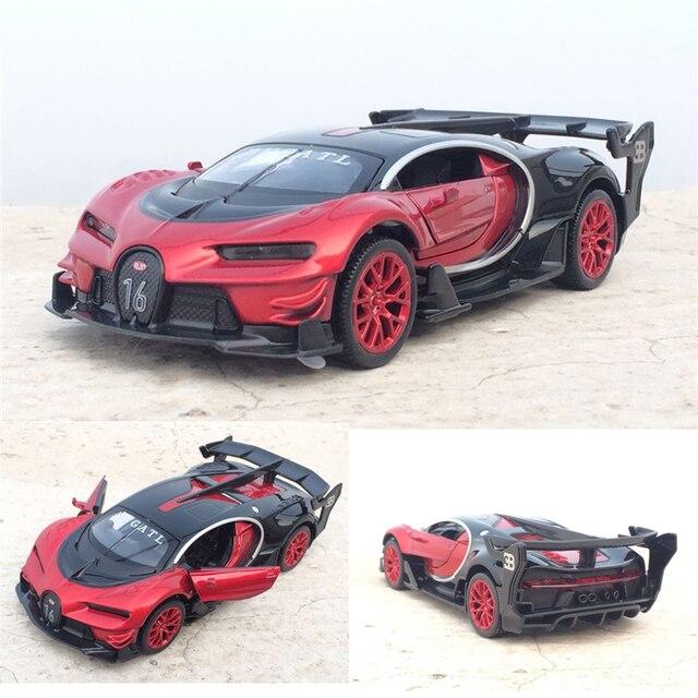 Coche electrónico Bugatti Veyron escala 1:32 de aleación fundida, juguete de modelo de coche, con luz de tracción trasera, juguetes para niños, regalo, envío gratis