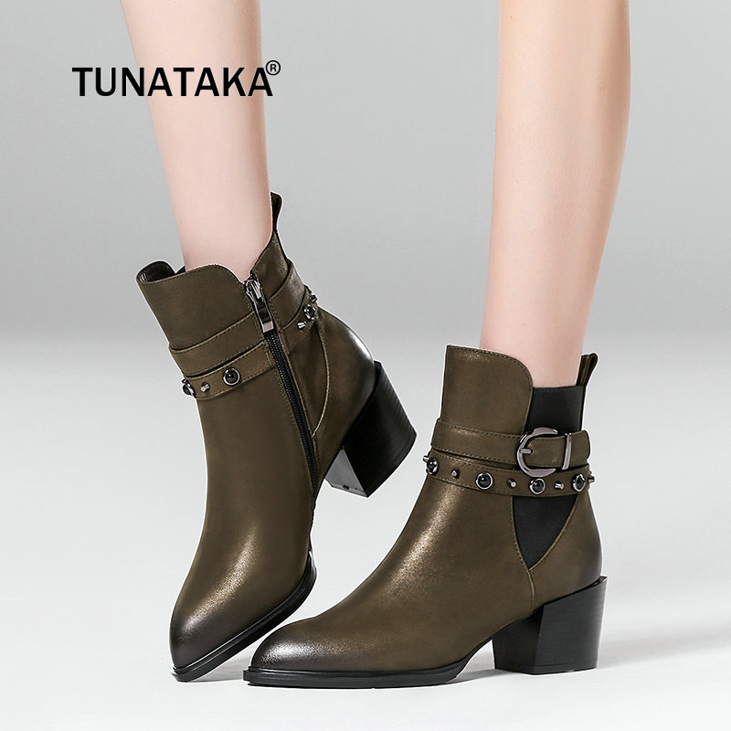 Plus Size 42 Cow Leather Thick High Heel Ankle Boots Fashion Pointed Toe Zip Buckle Crystal Casual Shoes Woman Black Army Green hasky 8002 outdoor mountaineering matte top leather ankle shoes army green black pair 42