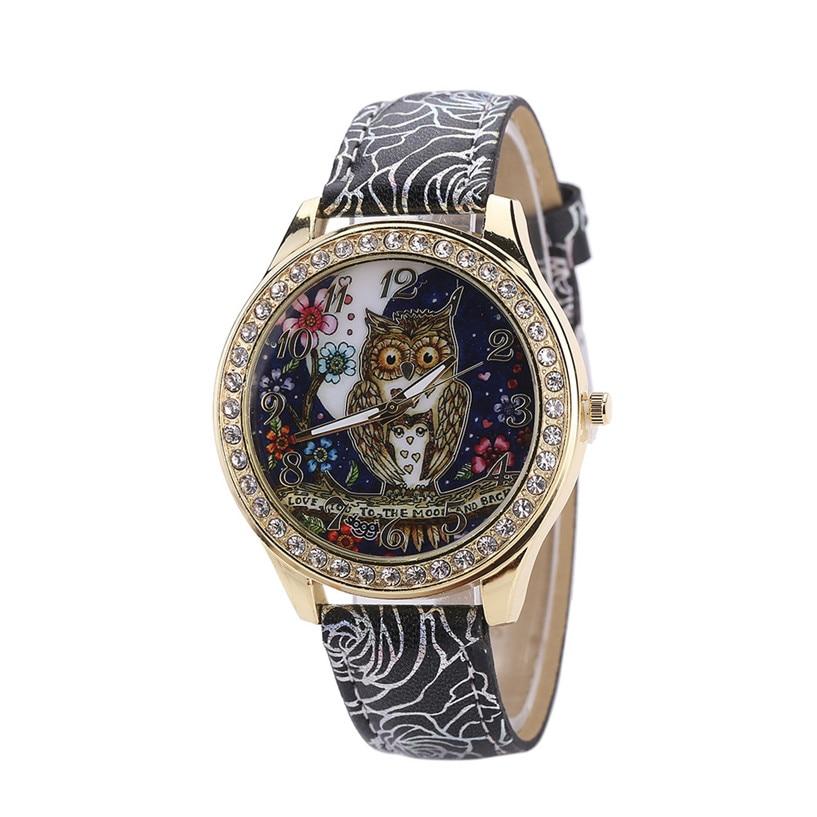 Fashion Male And Female Universal Cartoon Owl Couple Models Diamond Quartz Watch bayan kol saati bayan kol saati 03#0912