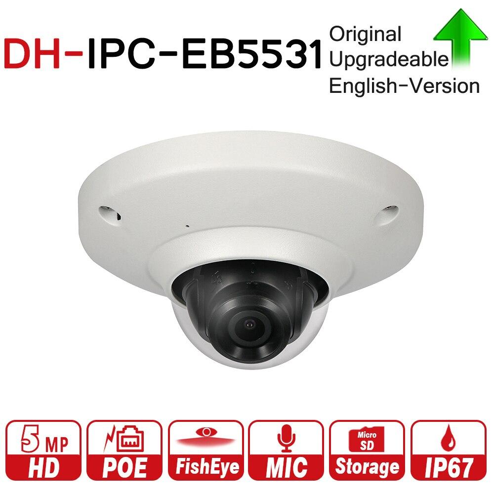 DH IPC-EB5531 avec logo 5MP Panoramique Réseau 1.4mm Fisheye Caméra H.265/H.264 3DNR AWB AGC BLC IP67 PoE détection Intégré Mic