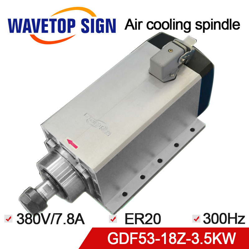 WaveTopSign Air Cooling Spindle with Fixed Seat 3.5KW GDF53-18Z-3.5 3.5KW 380V 18000rpm 7.8A 300HZ Air Cooling Chuck Nut ER20WaveTopSign Air Cooling Spindle with Fixed Seat 3.5KW GDF53-18Z-3.5 3.5KW 380V 18000rpm 7.8A 300HZ Air Cooling Chuck Nut ER20