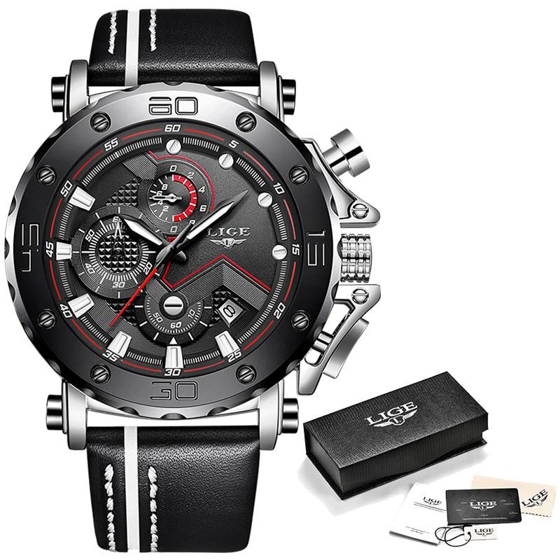 2020LIGE New Fashion Mens Watches Top Brand Luxury Big Dial Military Quartz Watch Leather Waterproof Sport Chronograph Watch Men 9