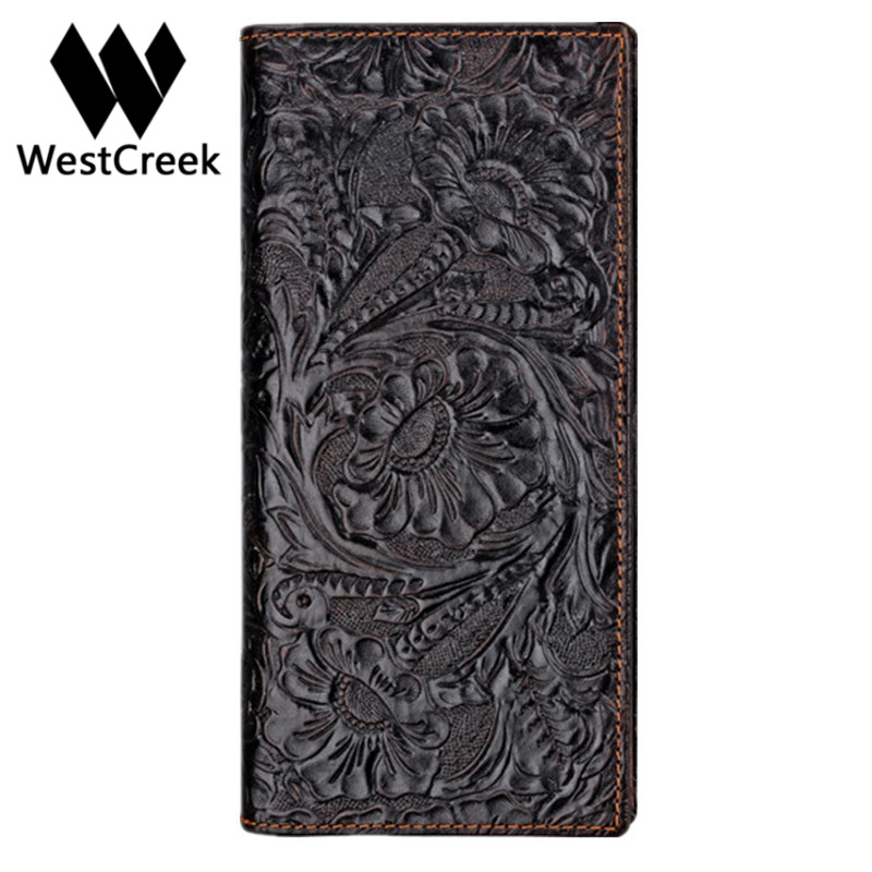 couro genuíno carteira dos homens Tipo de Estampa : Floral