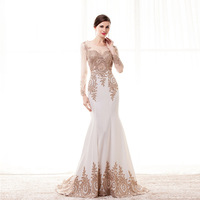 New Long Mermaid Prom dress illusion appliques Trumpet formal party gown beauty Pageant Gown Women Gown