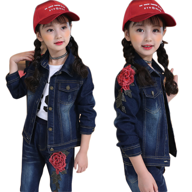 Children Clothes for Girls 4 6 8 10 12 14 Years Denim Coat Kids Set Long Sleeve Baby Girls Set T Shirt+ Jacket + Jeans 3pcs children clothing 6 8 9 10 11 12 years girls clothes suit cartoon jacket cotton long sleeve t shirt jeans boys clothes sets 3pcs