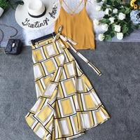 Random Beach Boho Camisole Plaid Print skirt Suit Women Summer Fashion Chiffon top High Waist One piece skirt sexy Long Sets