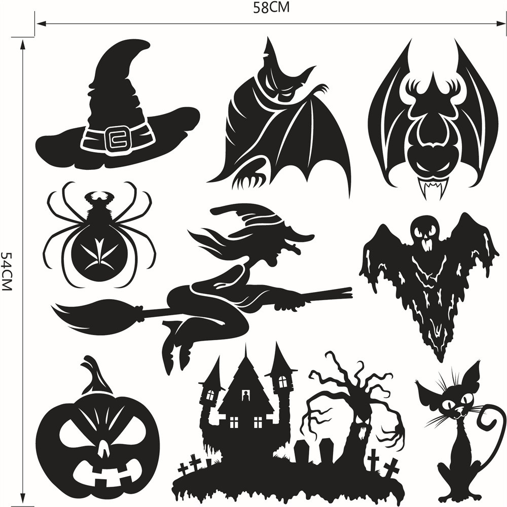 1Sheet Multipiece Halloween Home Decoration Bat Castle Cat Witch Pumpkin  Etc Kids Room Decor Window Wall