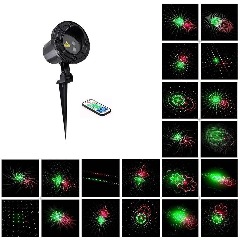 Laser licht Sterne 24 Muster Rot Grün bewegung Weihnachten dusche ...