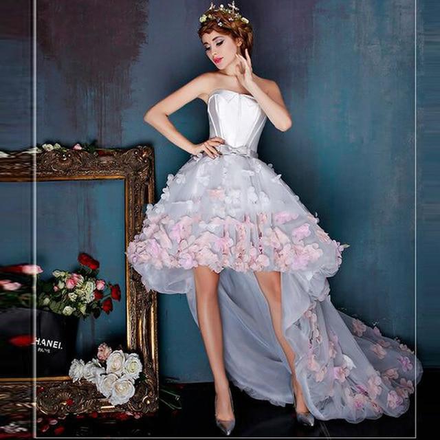 a93a4aa3d01 Charming 3D Floral Unique Prom Dresses Asymmetrical Handmade Flower  Knee-Length Princess Elegant Party Dress Vestido De Festa